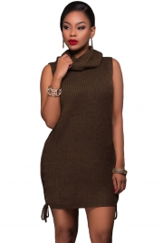 Olive Lace-up Sides Sweater Dress