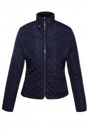 Navy Diamond Quilted High Neck Cotton Jacket