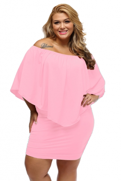 Plus Size Multiple Dressing Layered Pink Mini Dress
