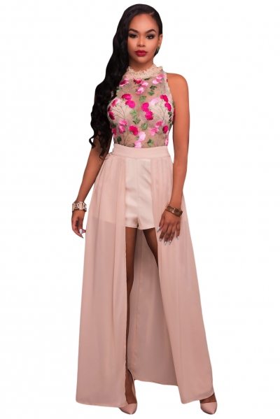 Pink Sheer Mesh Embroidery Chiffon Romper Maxi Dress