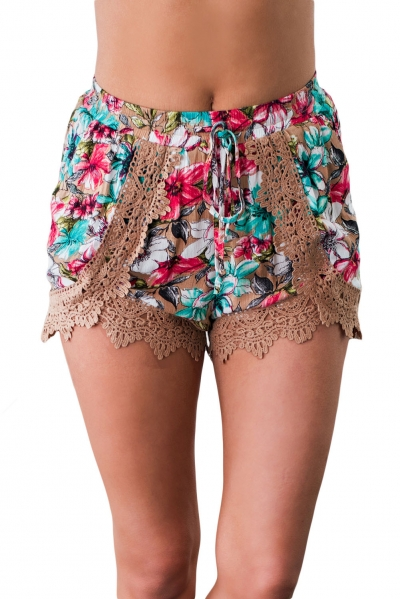 Khaki Crochet Lace Detail Drawstring Floral Shorts