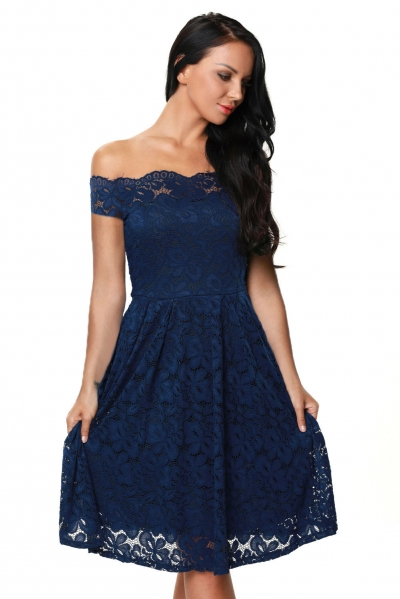 Blue Plus Size Scalloped Off Shoulder Flared Lace Dress