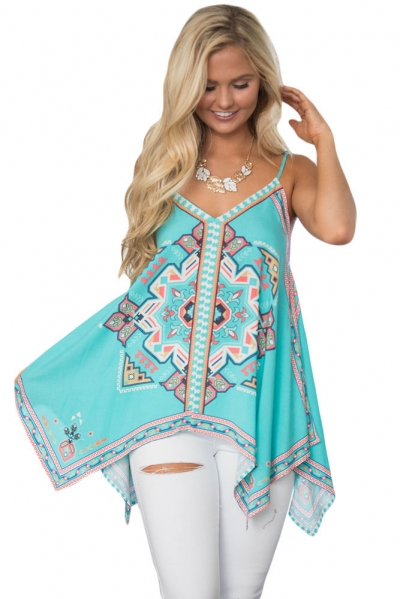 Bluish Tribal Print Summer Holiday Tank Top