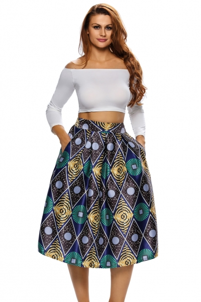 Vintage High Waist Printed A-lined Midi Skirt