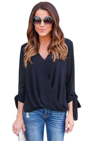 Black Womens V Neck Ruched Tie Sleeve Top ZEKELA.com