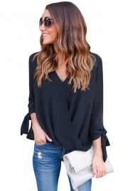 Black Womens V Neck Ruched Tie Sleeve Top