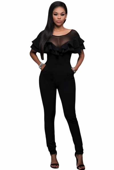 Black Mesh Insert Double Ruffle Jumpsuit
