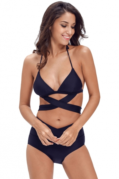 Navy Blue Sexy Cut Out 2pcs Swimwear