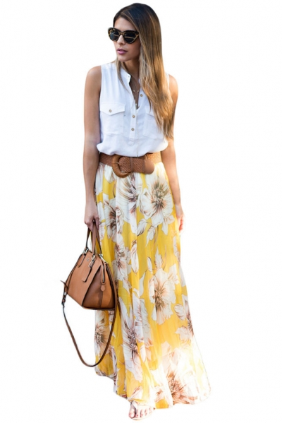 Yellow Blossoming Floral Chiffon Maxi Skirt