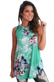 Green Floral Print High Neck Tank Top