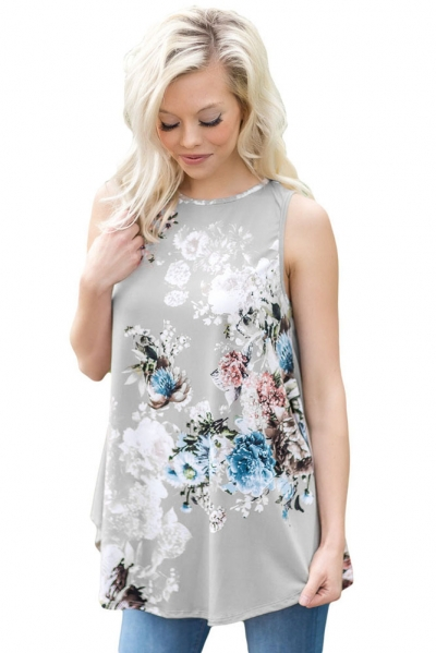 Grey Floral Print High Neck Tank Top