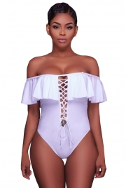 White Ruffle Off-The-Shoulder One Piece Swimsuit