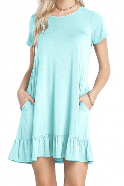 Baby Blue Short Sleeve Draped Hemline Casual Shirt Dress