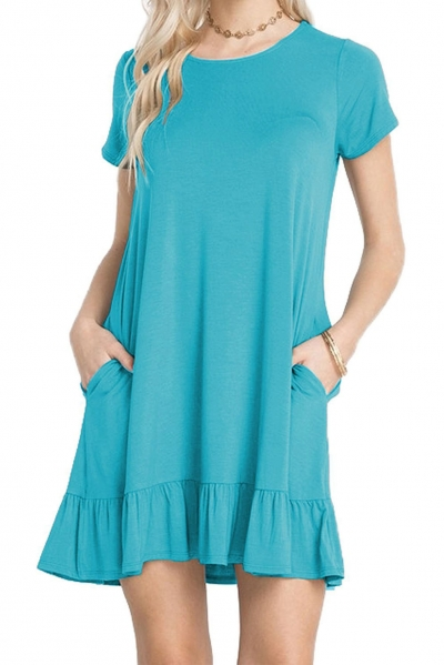 Blue Short Sleeve Draped Hemline Casual Shirt Dress