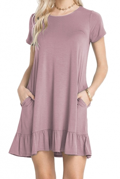 Grape Purple Short Sleeve Draped Hemline Casual Shirt Dress