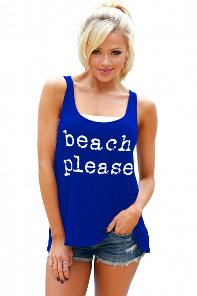 Blue Beach Please Tank Top