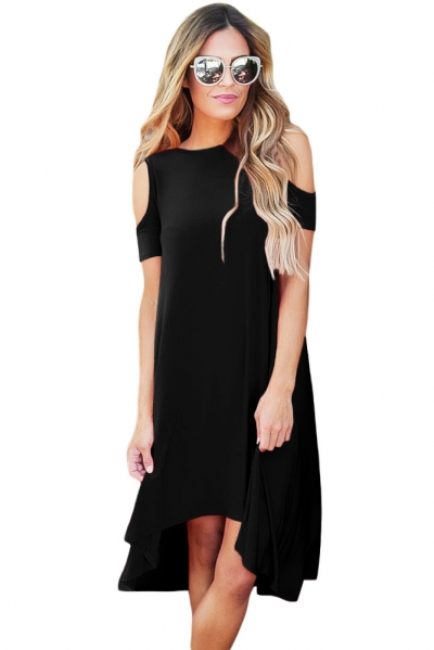 Black Cold Shoulder Short Sleeve High Low Dress