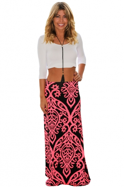 Coral Tendril Printed Maxi Skirt