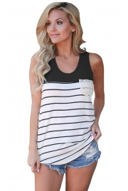 Stylish Striped Black Block Racerback Tank Top