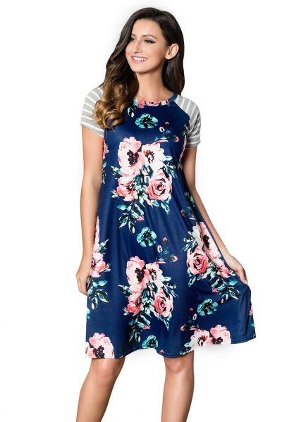 Blue Backdrop Floral Print A-line Loose T-shirt Dress ZEKELA.com