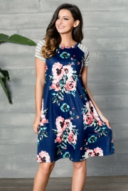 Blue Backdrop Floral Print A-line Loose T-shirt Dress