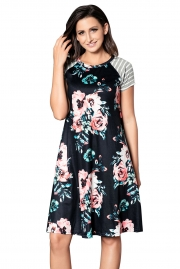 Black Backdrop Floral Print A-line Loose T-shirt Dress