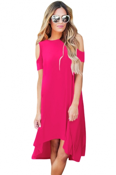 Rosy Cold Shoulder Short Sleeve High Low Dress
