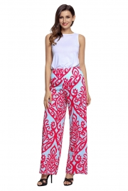 Red Damask Print Blue Palazzo Pants