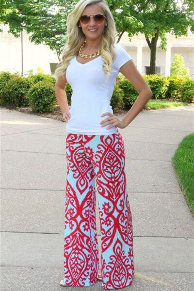 Red Damask Print Blue Palazzo Pants zekela.com