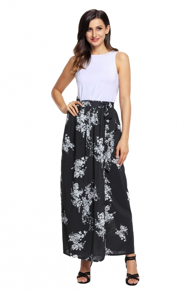 Black White Floral Maxi Skirt with Split