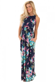 Navy Floral Print Sleeveless Long Boho Dress