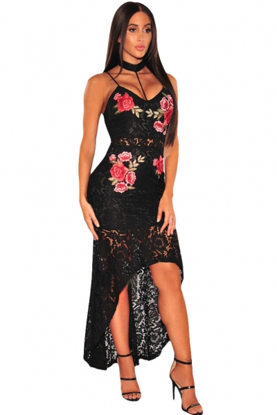 Black Floral Lace Choker High Low Dress