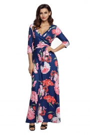 Navy Floral Print Wrapped Long Boho Dress