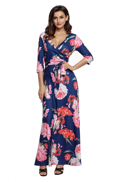 Navy Floral Print Wrapped Long Boho Dress ZEKELA.com