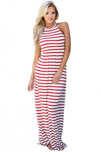 Red Striped High Neck Sleeveless Maxi Dress