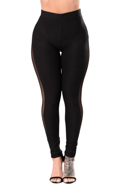 Black High Waisted Mesh Detail Leggings