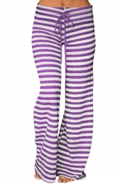 Purple White Striped Wide Leg Pants