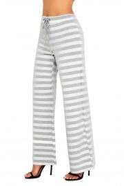 Grey White Striped Wide Leg Pants