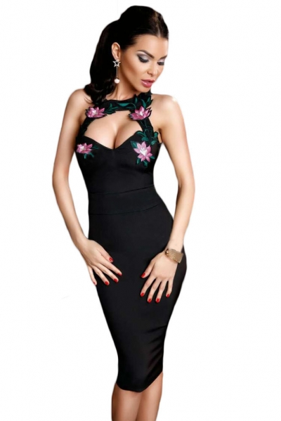 Flowery Embroidery Sexy Cutout Little Black Dress
