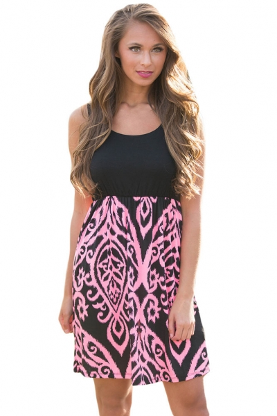 Black and Pink Printed Short Dress