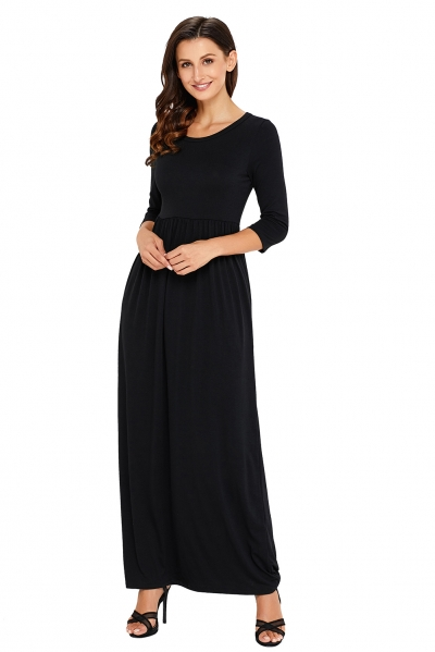 Black Pocket Design 3/4 Sleeves Maxi Dress zekela.com