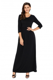 Black Pocket Design 3/4 Sleeves Maxi Dress