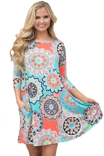 Bohemian Sunflower Print Aqua Blue Dress