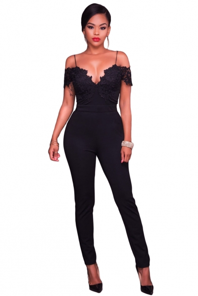 Black Lace Applique Spaghetti Straps Cold Shoulder Jumpsuit