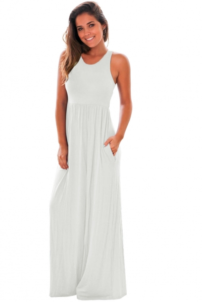 White Racerback Maxi Dress with Pockets ZEKELA.com