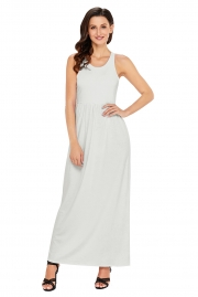 White Racerback Maxi Dress with Pockets