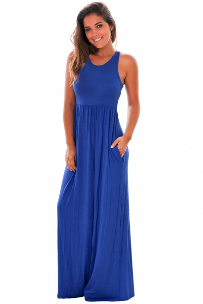Blue Racerback Maxi Dress with Pockets ZEKELA.com