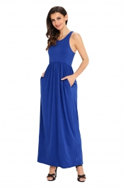Blue Racerback Maxi Dress with Pockets