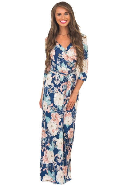 Slate Blue Floral Print Wrapped Long Boho Dress