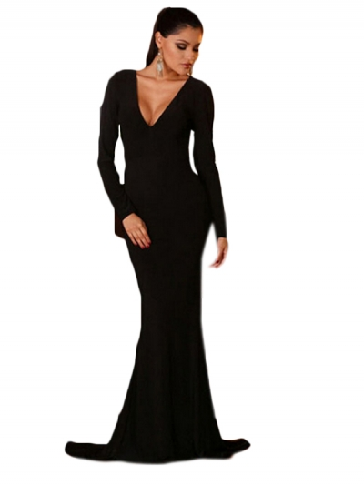 Sexy Backless Long Sleeves Mermaid Black Evening Gown